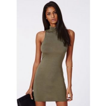 Andie Roll Neck Bodycon Dress Khaki - Dresses - Bodycon Dresses - Missguided