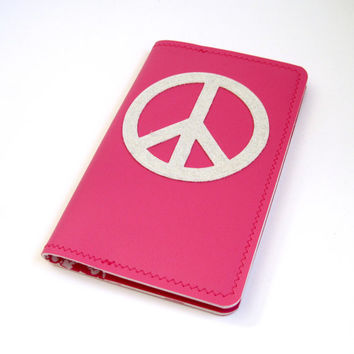 Vinyl Moleskine Cover, Peace Design, bright pink matte and white silver sparkle vinyl / pink toile oilcloth, fits POCKET CAHIER JOURNAL