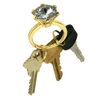 Bling Diamond Ring Key Chain - White Diamond Color Jewel