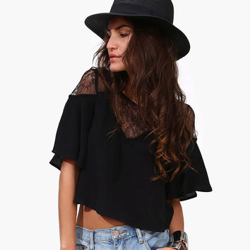 Black Mesh Lace Cutout Flounce Top