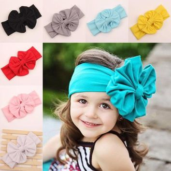 DCCKIX3 2015 big bow headwrap lovely bowknot baby headbands cotton baby girl hair bow 9 colors pick = 1929564740