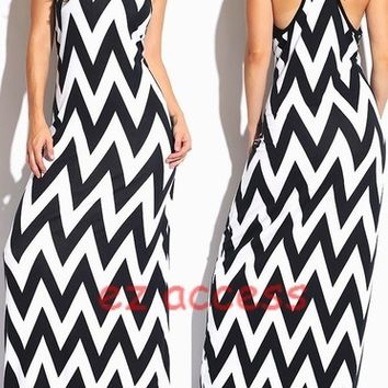 Women's Dresses Chevron Maxi Dress ZiG ZaG Stripe Maxi Dress SeXY S,M,L,1X,2X,3X