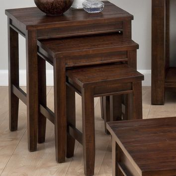 Urban Lodge Brown 3 Piece Nesting Table Tapered Block Legs Set