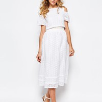 Darccy Broderie Cold Shoulder Midi Dress at asos.com