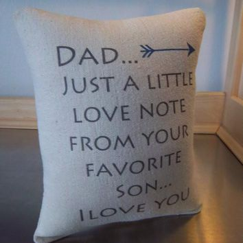 Dad love message pillow from son gift for dad cotton cushion