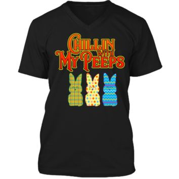 Chillin With My Peeps T-shirt Funny Easter Bunny Rabbit Tee Mens Printed V-Neck T