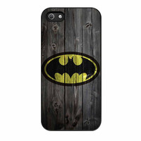 Batman Logo On Wood iPhone 5s Case