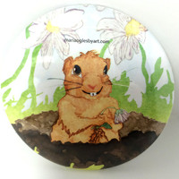 Adorable Gopher Watercolor Collectable Pin On Art Button, Artist Cute Happy Gopher Painting Collectors Artist Button,Romantic Gopher In Hole