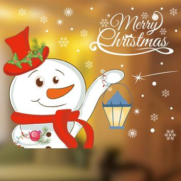 Christmas Snowman Removable Furniture Vinyl Window Wall Sticker Decoration wall sticker\