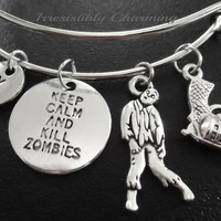 Zombie bracelet, Stainless Steel Expandable Bangle, monogram personalized item No.862