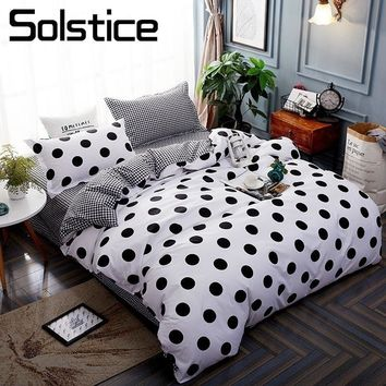 Solstice Home Textile Stripe Dot Bedding Set Kid Boy Teen Bed Linen 3/4Pcs Duvet Cover Pillowcase Bed Sheet King Queen Full Size