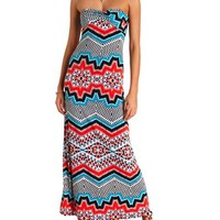 KALEIDOSCOPE PRINT TWISTED STRAPLESS MAXI DRESS