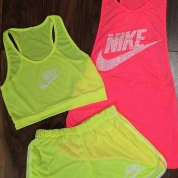 ONETOW 3 pcs set 'Nike' Fluorescent vest shorts Movement Set