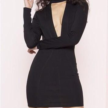 I Wish You Would Long Sleeve V-Neck Bodycon Mini Dress