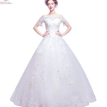 Luxury Wedding Dress The Princess Boat Neck Short Sleeved A-line Embroidery with Beading Floor-length Wedding Gown
