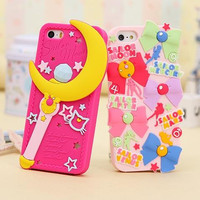 luxury fashion 3d cute Sailor Moon design soft silicon mobile phone case lovely rubber cover for iphone 5 5s 6 4.7 5.5 inch plus
