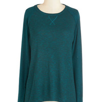 ModCloth Mid-length Long Sleeve One, Two, Three, Knit It! Top in Teal