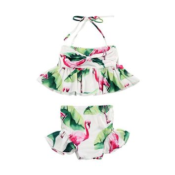 2018 Brand New Newborn Toddler Girl Flamingo 2 Piece Swimwear
