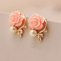 Fashion Jewelry 2015 New Earings For Women Korean Style OL Pink Rose  Crystal Pearl Double Side Stud Earings 163