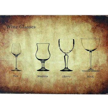 Vintage Metal Painting Wall Decorative Hanging Home/Cafe/Bar-Wineglass