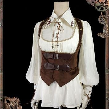 Steampunk Style Women's Chiffon Blouse Mechanical Doll Series Gear Embroidered Shirt