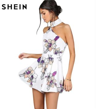 SHEIN Floral Rompers for Women 2017 Summer Sexy Romper Sleeveless White One Shoulder Halter Neck Floral Romper