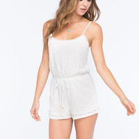 Full Tilt Lace Tie Waist Womens Romper Cream  In Sizes