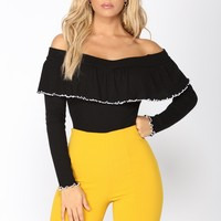 Go All Night Long Sleeve Top - Black/Ivory
