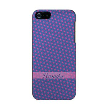 Pink stars on a blue background. Add name. Metallic Phone Case For iPhone SE/5/5s