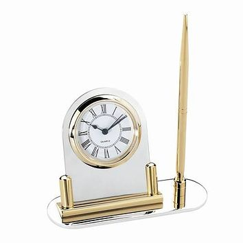 Personalized Free Engraving Clock with Pen Stand