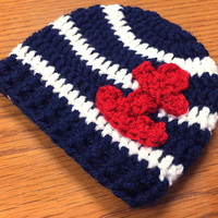 Ahoy its a boy newborn hat, Sailor hat, Nautical hat, baby boy hat, crochet hat for babies, Newborn to 12 month sizes available