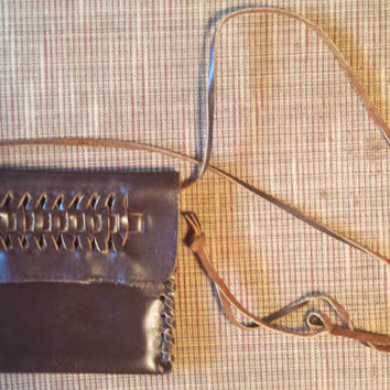 Brown Leather Woven Crossbody Purse, Bag, Pouch, Boho Bag - Perfect for Concerts & Festivals!