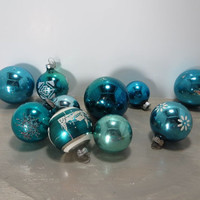 Vintage Christmas Tree Ornaments Metallic Ornaments Blue Glass Ornaments Shiny Brite Ornaments Striped Ornaments