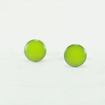 NEON YELLOW Stud Earrings - Neon Yellow Earrings - Neon Yellow Ear Studs - Neon Earring Stud - Surgical Steel Post Earring - 4mm / 6mm / 8mm