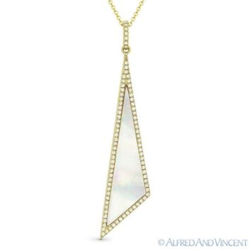 Mother of Pearl & 0.18 ct Diamond Pave 14k Yellow Gold Pendant & Chain Necklace