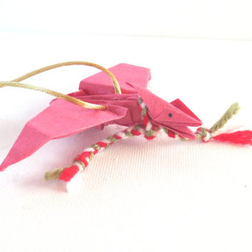 Origami Dinosaur Ornament Pteranodon With Scarf Pink