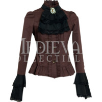 Steampunk Brown and Black Cravat Blouse - DR-1079 by Medieval Collectibles