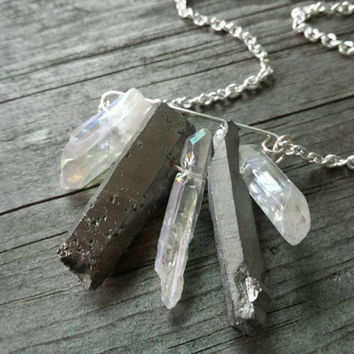 Quartz Crystal Necklace, Silver Quartz, Raw Crystal Jewelry, Raw Crystal Pendant, Gypsy Jewelry, Boho Chic Necklace, Boho Jewelry