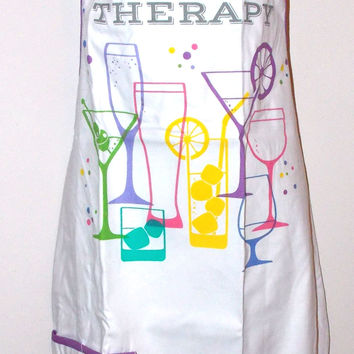 Spoontiques Group Therapy Apron Appeal White Pocket Womens Drink Glasses Wine OS