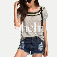 Grey Short Sleeve Pom Pom Trim T-shirt -SheIn(Sheinside)