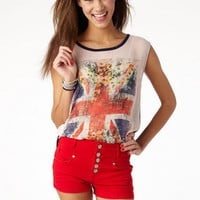 Red High Waist Color Denim Short