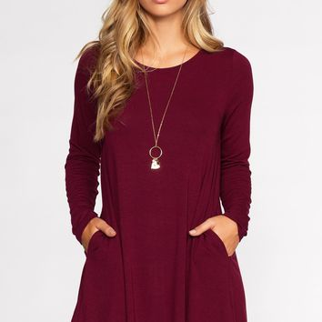 Catching Leaves Dress - Burgundy