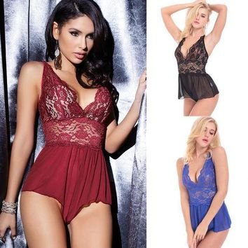 ONETOW 2017 New Style Women Sexy Lingerie Plus Size Teddy Red Black Blue Purple Lace Sleepwear