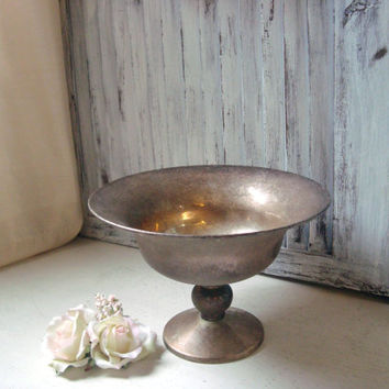 Vintage Metal Pedestal Dish, Tarnished Serving Dish, Distressed Silver Plate Bowl, Shabby Chic, Wedding Decor, Gift Ideas, Candy Dish