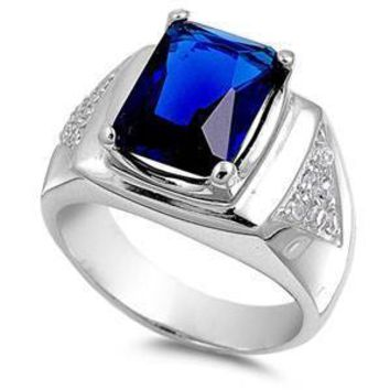 Sterling Silver Blue Sapphire Rectangle Shaped Mens CZ Ring, Face Height 16mm, Band Width 6mm