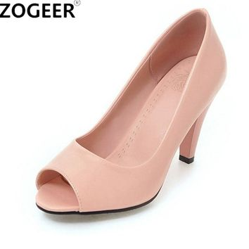 2017 Spring New Peep toe High Heels Women Shoes Fashion Women's Pumps Ladies Sexy Red white Wedding Shoes Woman