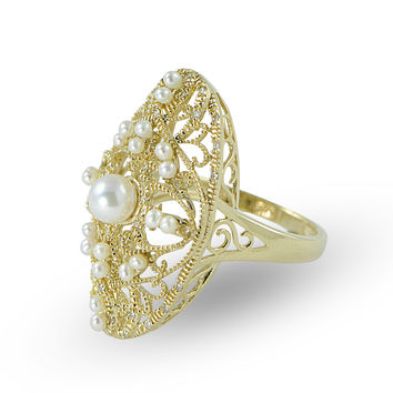 Imperial Pearl: 5-5.5mm Akoya Pearl, Seed Pearl & Diamond Vintage Ring