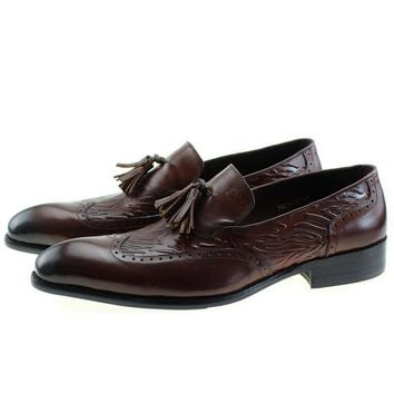 Autumn New Genuine Leather Slip On Men's Wedding Dress Shoes Formal Party Man Brown Loafer With Tassel