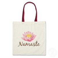 Namaste Lotus Flower Yoga Tote Bag from Zazzle.com