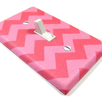 Dark and Light Pink Chevron Nursery Decor Light Switch Cover Zig Zag Zigzag Switch Plate Switchplate Girls Bedroom BLAKE PATTERN